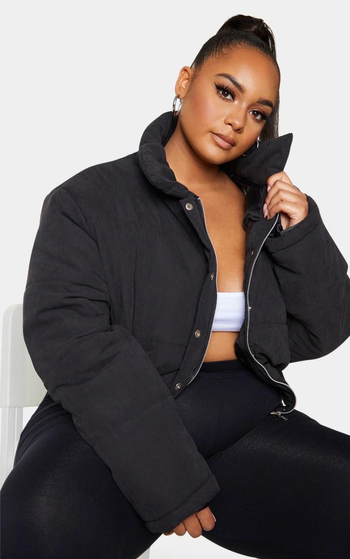 Plus Black Peach Skin Cropped Puffer Jacket 2