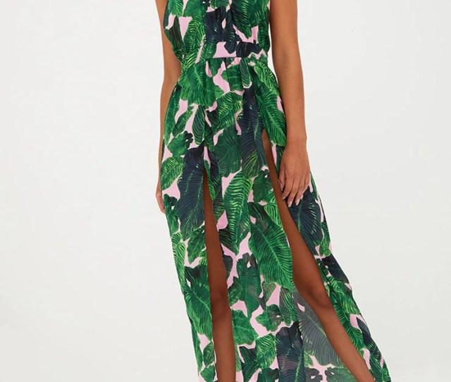 Pink Tropical Print Halterneck Maxi Dress Dresses Prettylittlething Usa