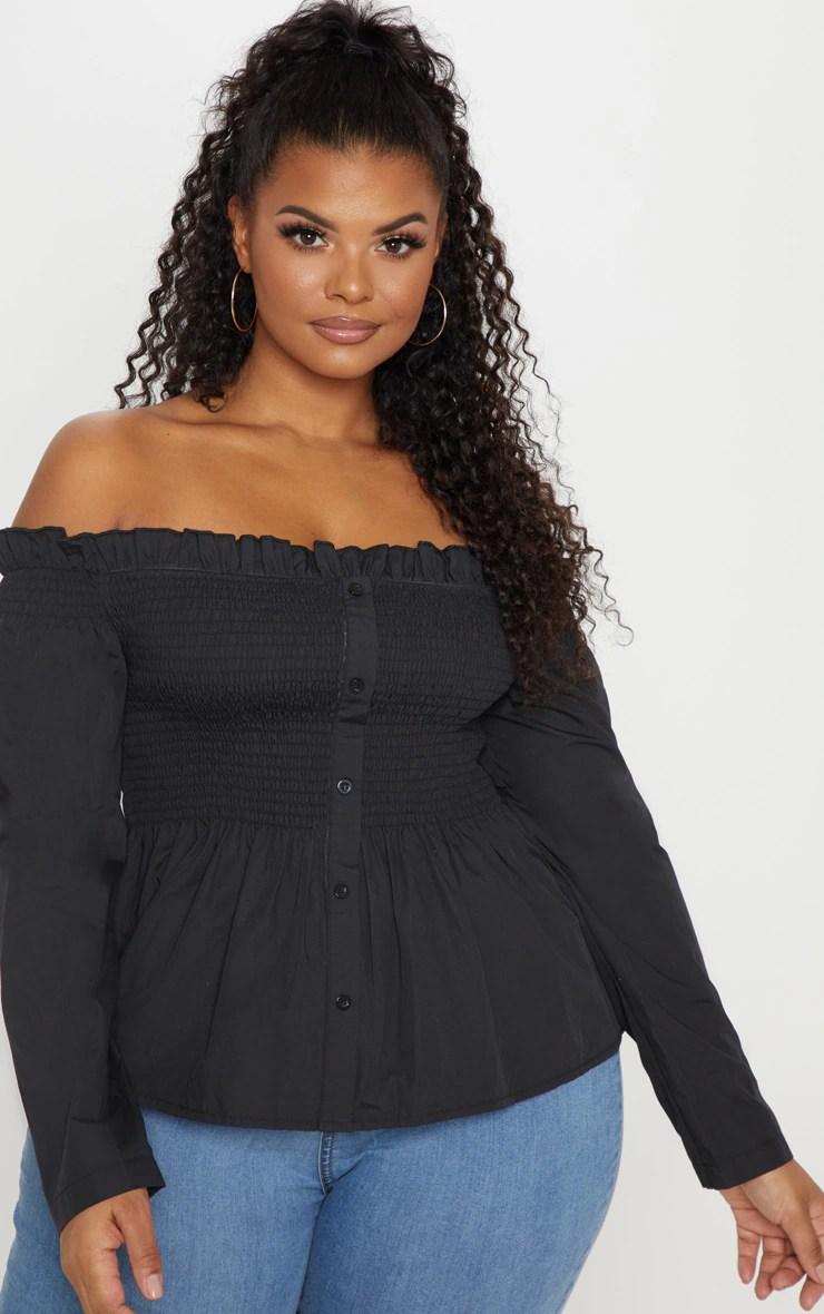 Plus Black Bardot Shirred Button Front Top 12