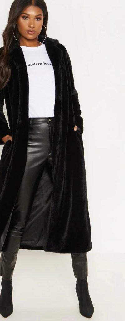 Black Longline Faux Fur Coat
