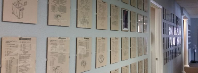 Creative Design Network's wall of patents.