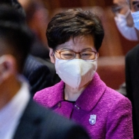 Hong Kong Chief Executive Carrie Lam (left) at an event last month   AFP-JIJI