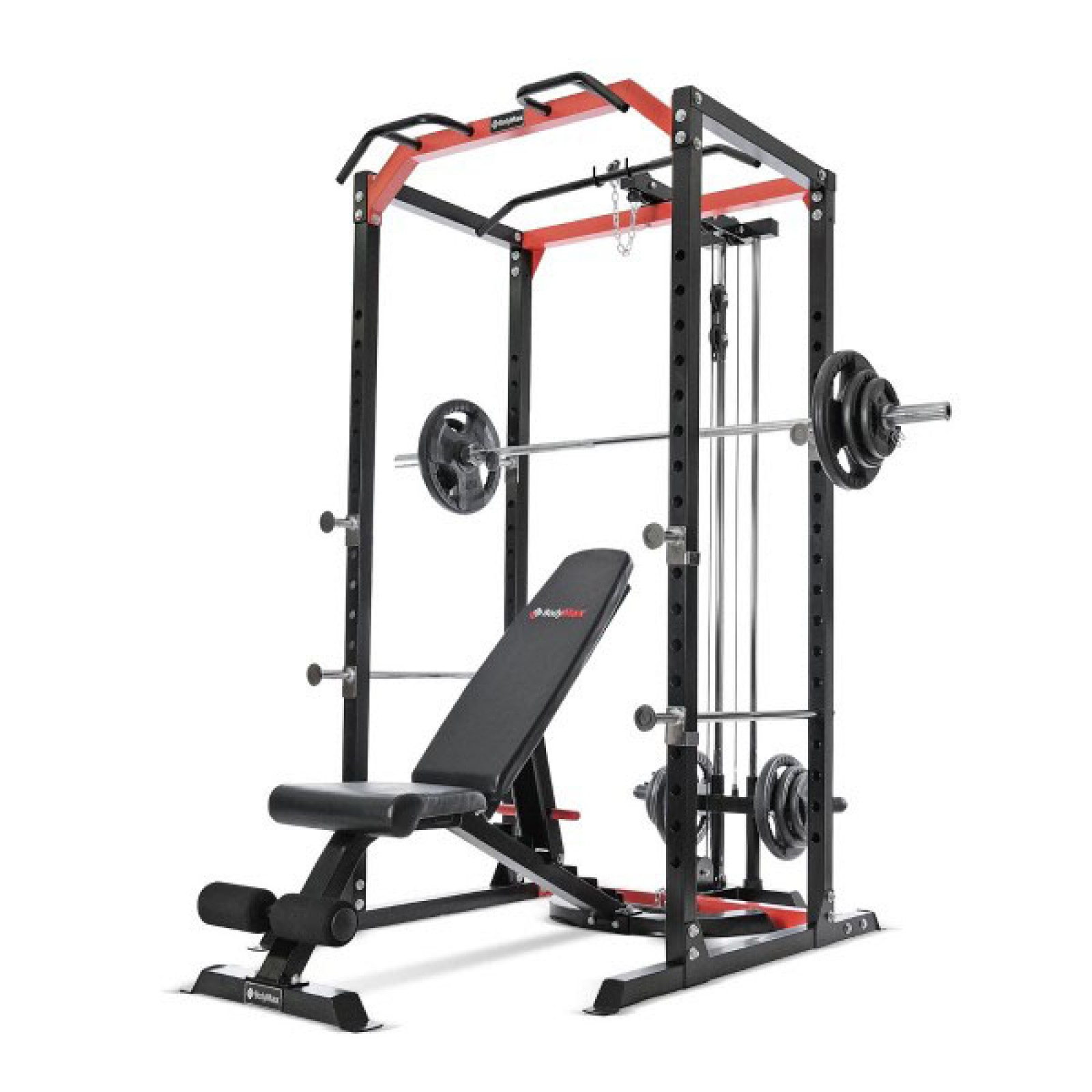 bodymax cf385 power rack cf328 utility bench 95kg rubber olympic weight kit disc loading pulley system