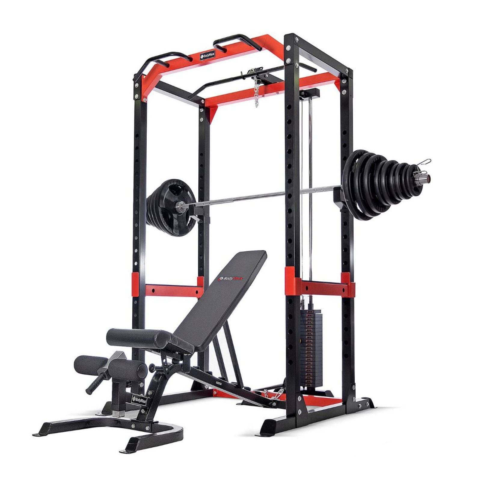 bodymax cf485 power rack with high low cable pulley attachment 95kg weight stack 145kg rubber olympic weight kit and bodymax cf430 bench