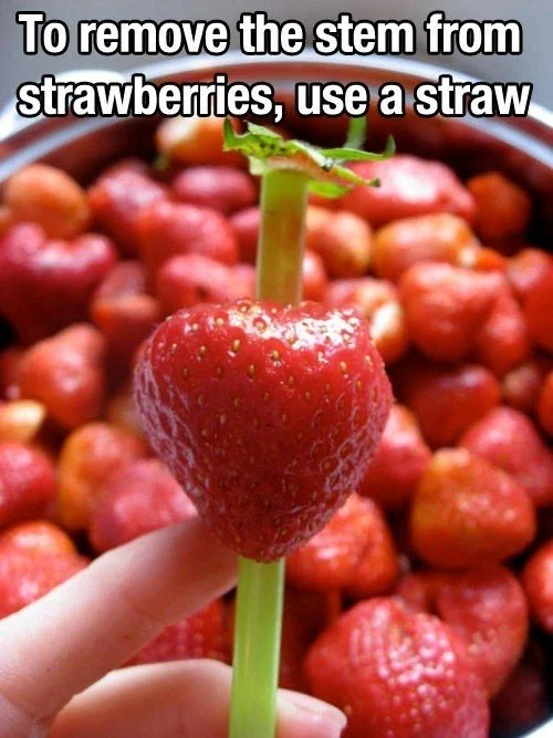 remove the stem from strawberries