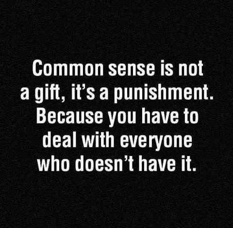 """Common sense is not a gift, it's a punishment. Because you have to deal with everyone who doesn't have it."""