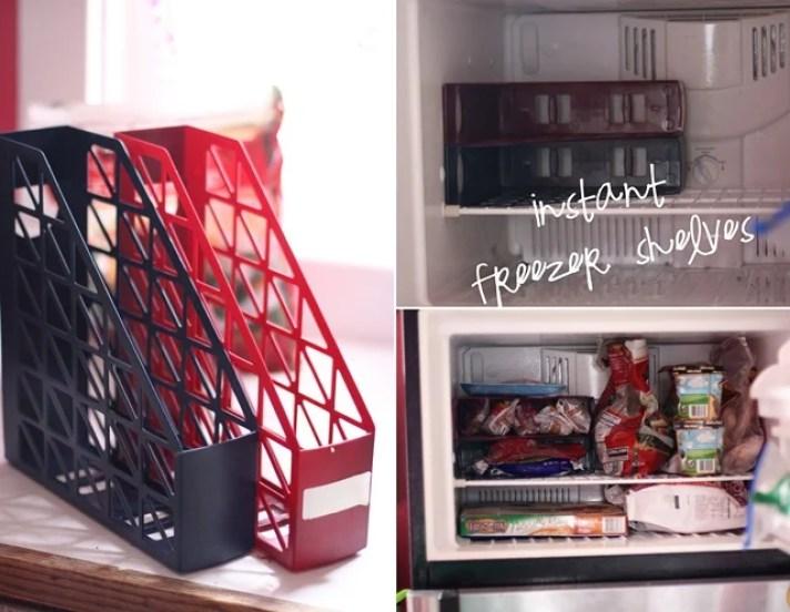 Magazine Rack Converted Into Freezer Shelves