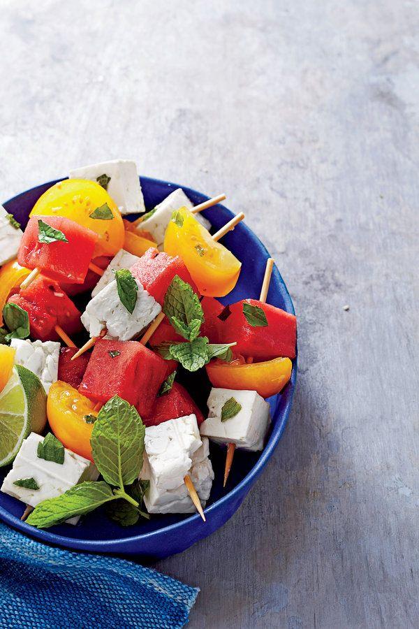 WTCN July 2015 Food Stylist Erin Merhar Prop Stylist Caroline Cunningham Tomato ,Watermelon, Feta Skewers