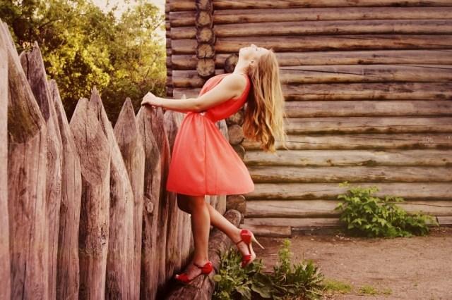 Woman in dress enjoying life