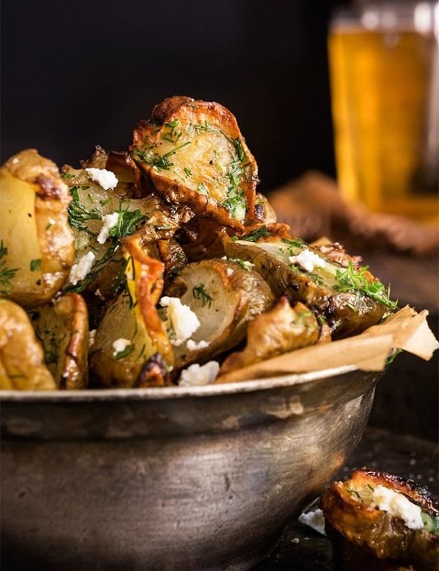 roasted-jerusalem-artichoke-chips-feta-dill-garlic-butter