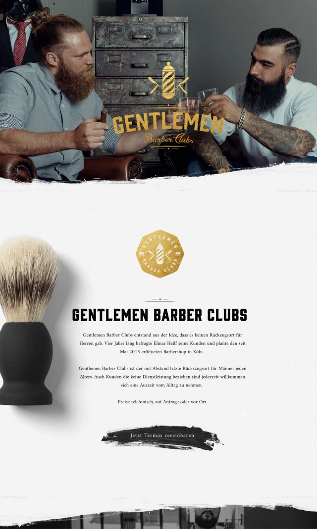Clean Web Design Inspiration - Gentlemen Barber Clubs