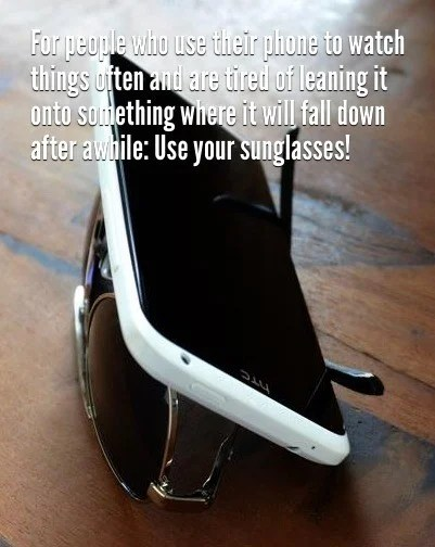 87 lean your phone on your sunglassess