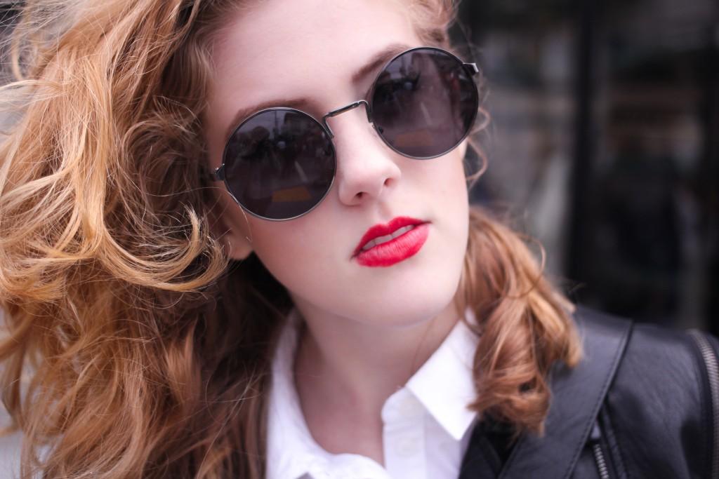 Successful Woman Glasses Red Lipstick
