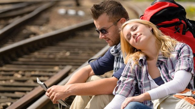 couple-backpack-traveling-resting-on-railroad-map-happy