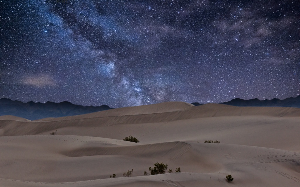 The night sky over Sahara Desert.