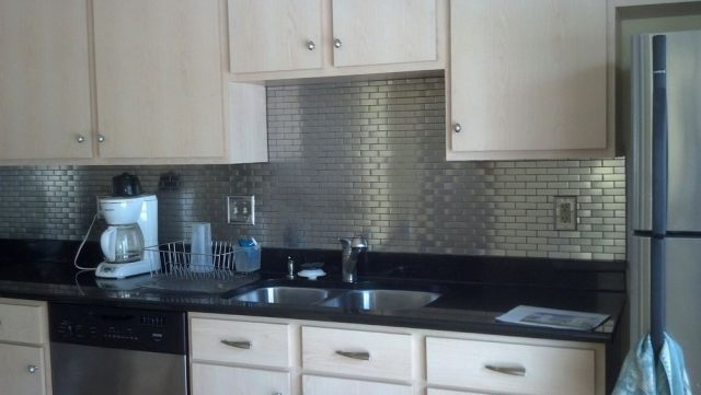 stainless steel backsplash sheets lowes