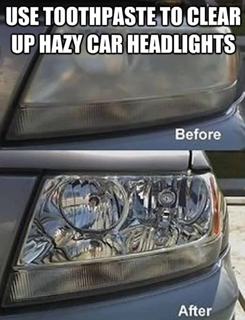 use toothpaste to clear up hazy car