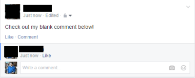 blank comment in facebook