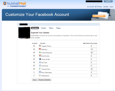 nutshell facebook account emails