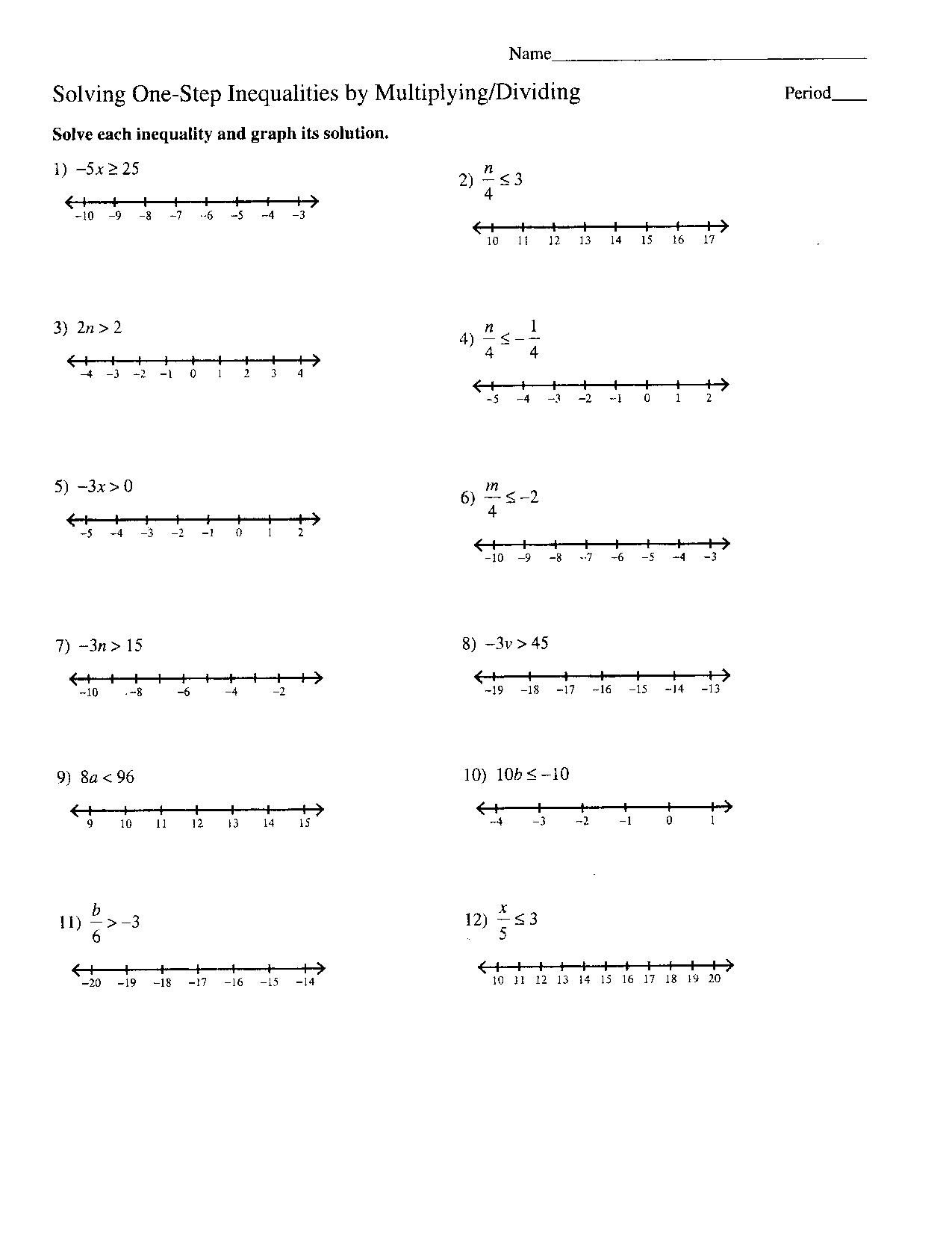 Graphing Inequalities Worksheet Algebra 1
