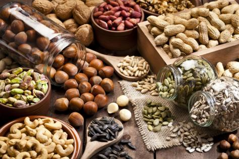 Nuts and seeds are a source of omega fats