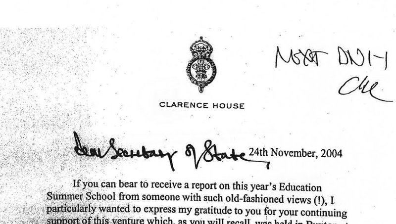A 2004 letter from Prince Charles to a secretary of state