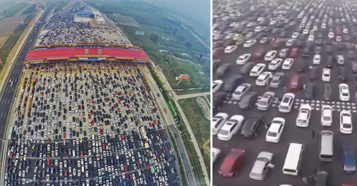 This Traffic Jam Footage From A 50 Lane Chinese Motorway