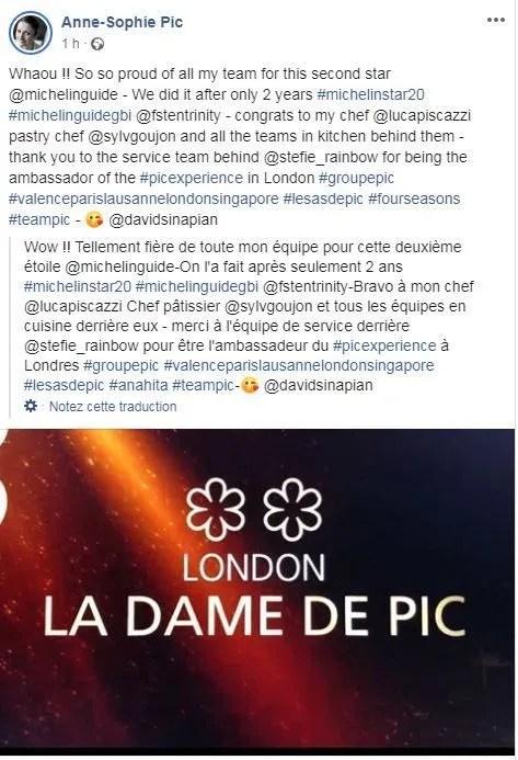 Page Facebook d'Anne-Sophie Pic. Capture d'écran  - Aucun(e)