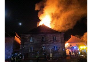 The roof of the town hall goes up in smoke