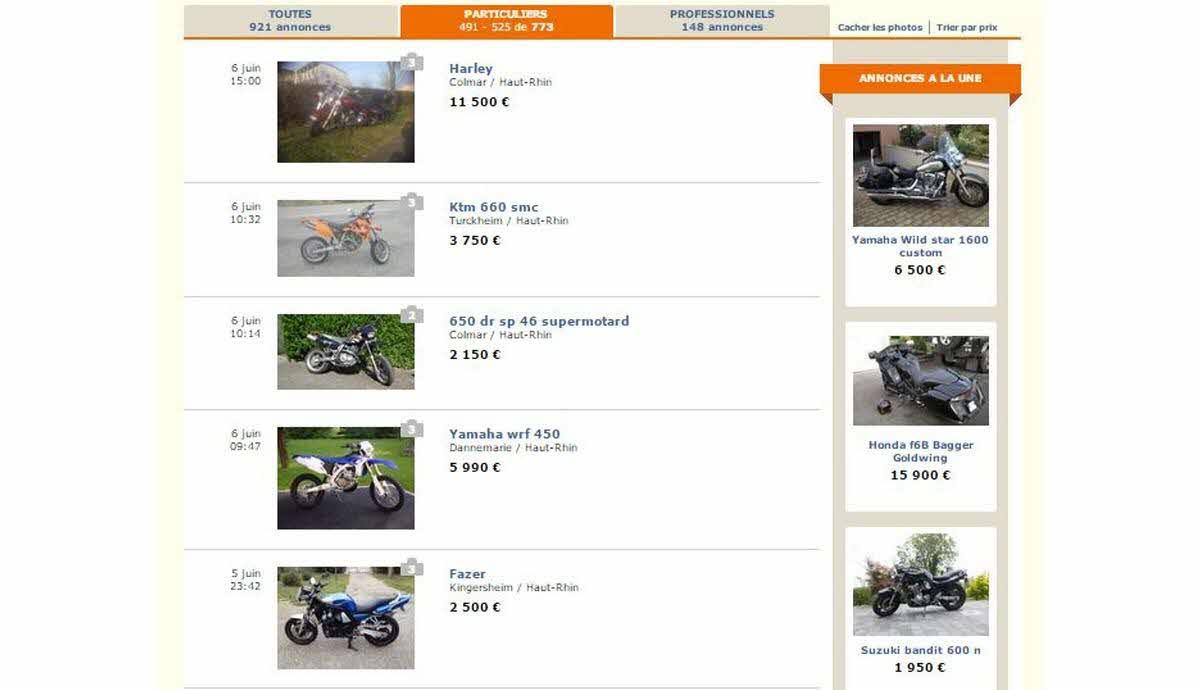 motos reperees sur le bon coin