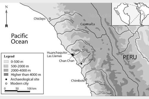 La zone géographique des découvertes, au Pérou, au bord de l'océan Pacifique Capture d'écran