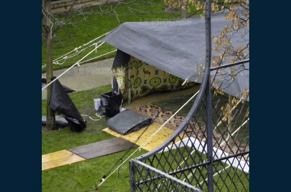 The tent of Gaddafi, planted in the gardens of the Hotel Marigny, Paris. AFP Photo