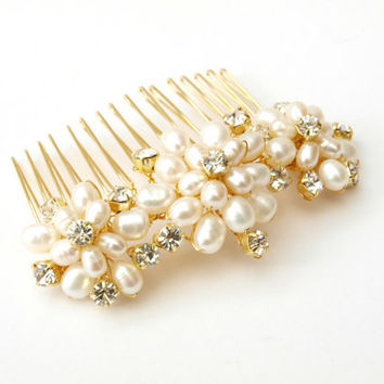 wedding pearl hair b gold bridal hair from jewellerymadebyme