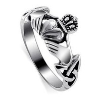 Nickel Free Sterling Silver Irish Claddagh Friendship and Love Polish Finish Band Ring Size 4,5,6,7,8,9,10,11,12,13: Jewelry