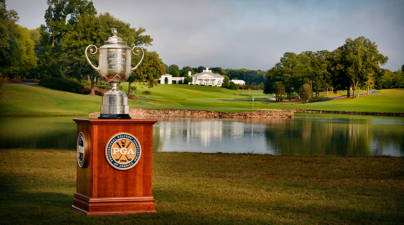 A view of the Wanamaker Trophy from the 17th hole at Quail Hollow Club.