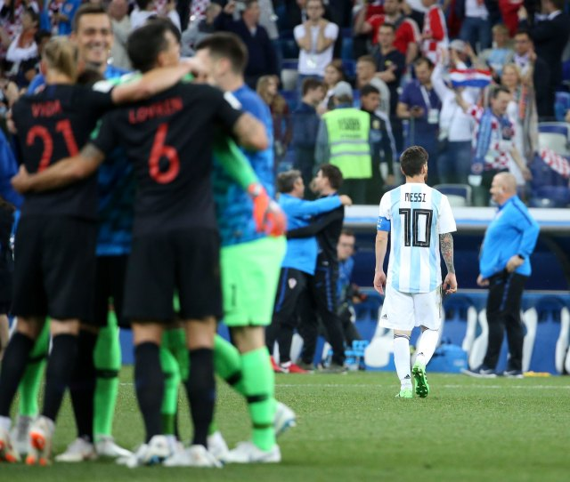 Lionel Messi Leaves The Field As Croatia Celebrates A   Win Over Argentina At
