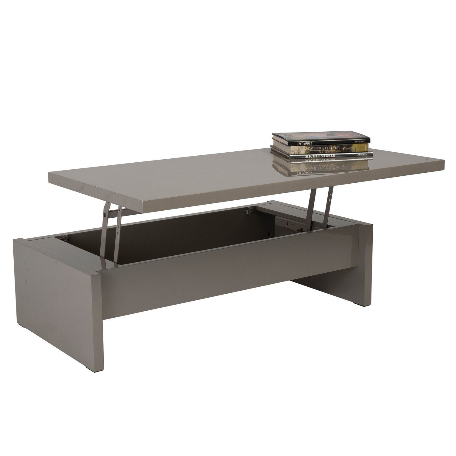 multi level storage coffee table white