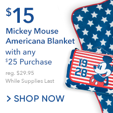 $15 Mickey Mouse Americana Blanket with Any $25 Purchase