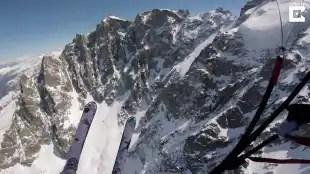 volo in sci e paracadute