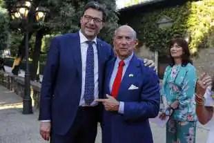 GIANCARLO GIORGETTI E L AMBASCIATORE USA LEWIS EISENBERG A VILLA TAVERNA