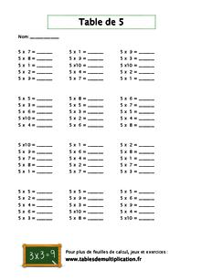 fiches de table de 5