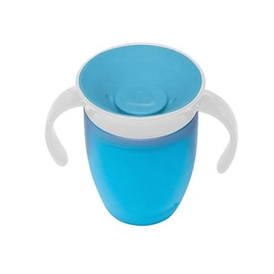 美國munchkin - 360度防漏練習杯207ml-藍(6M+)|媽咪愛