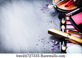4 042 Tools of a makeup artist Posters and Art Prints   Barewalls Tools Of A Makeup Artist Art Print Poster   Various Makeup Products On Dark  Background