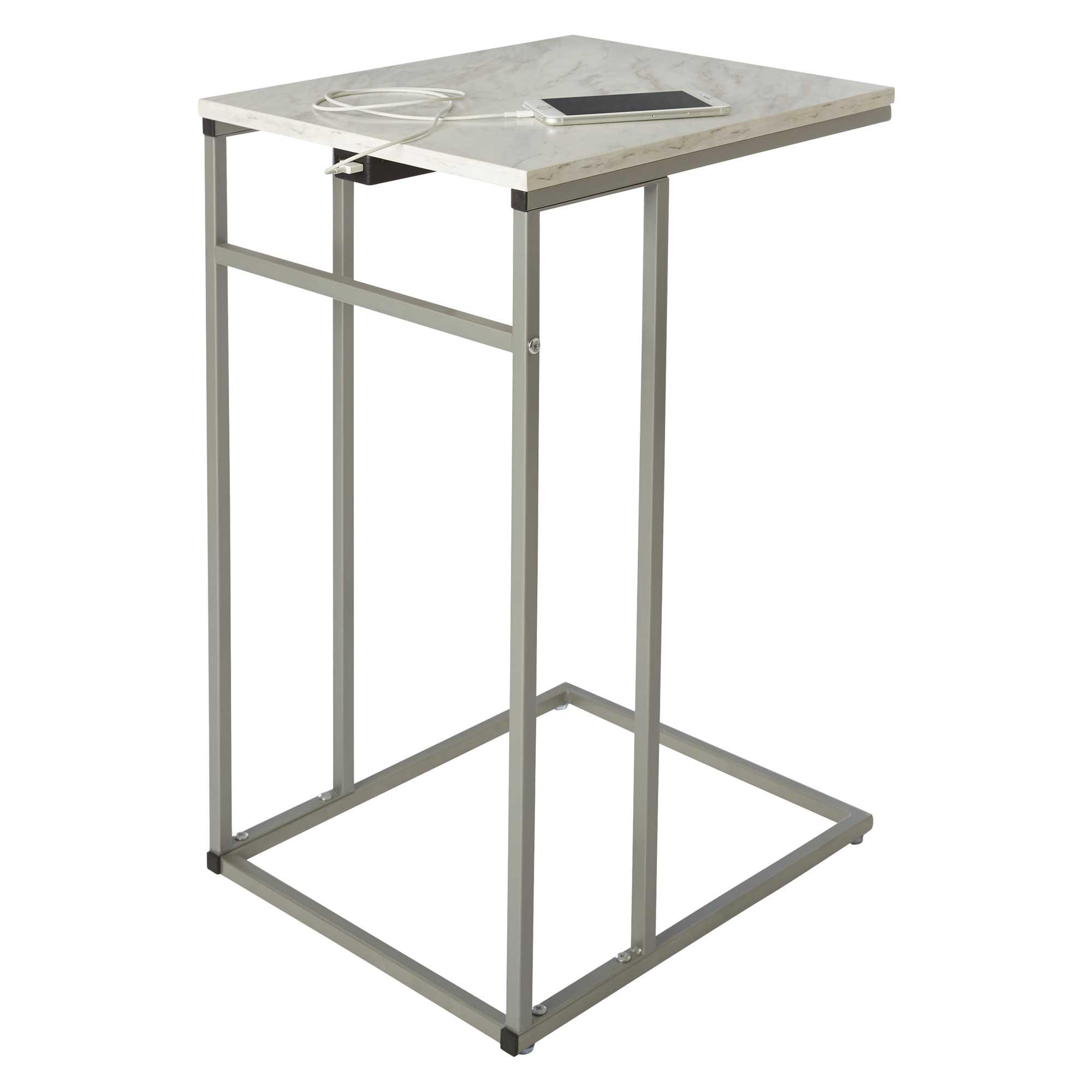 white melamine c side table with usb port