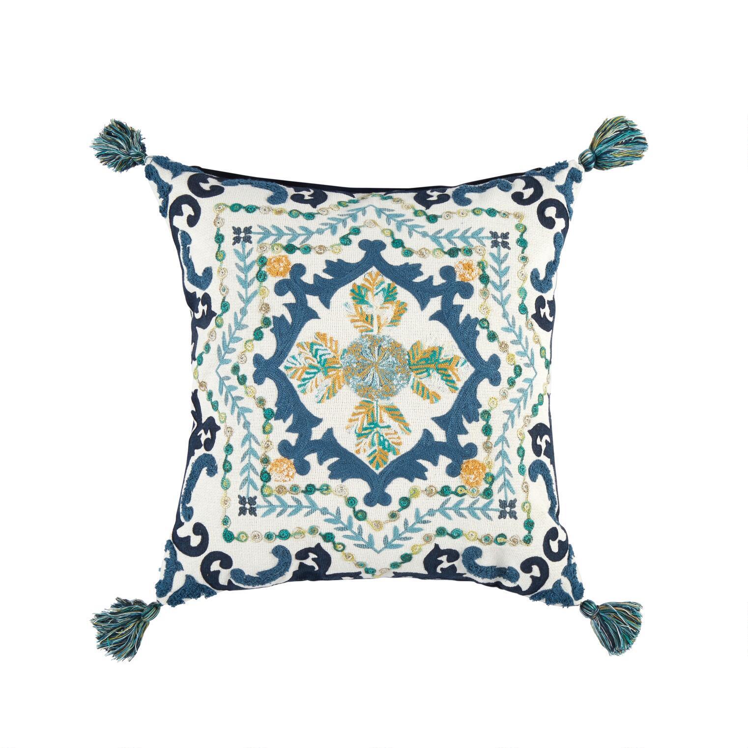 naya blue medallion tassel square throw pillow