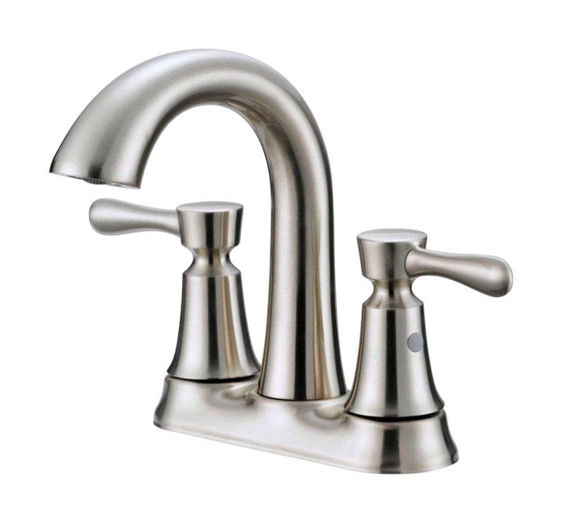 oakbrook verona brushed nickel two handle lavatory pop up faucet 4 in