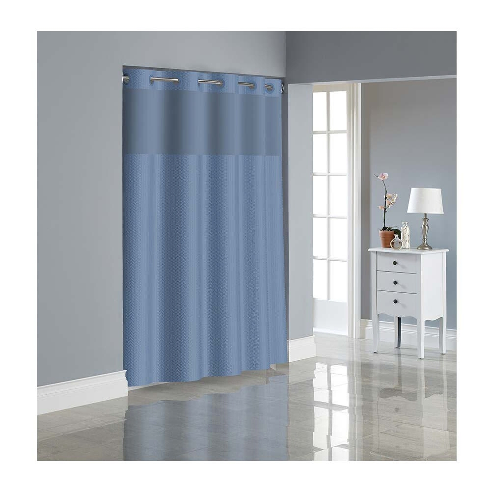 hookless dobby texture shower curtain with peva liner midnight blue