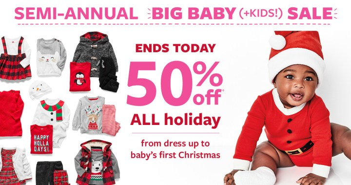 ends today | 50% off msrp all holiday from dress up to babys first christmas