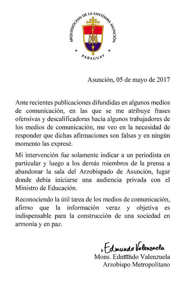 Comunicado emitido por Edmundo Valenzuela