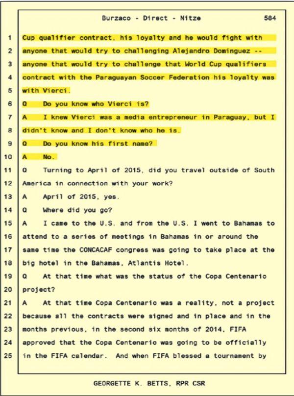 Transcripciones (inglés) del testimonio de Alejandro Burzaco ante el fiscal Sam Nitze, quien interrogó al testigo clave sobre los casos de sobornos en el fútbol. Mencionó en su declaración a A.J. Vierci.